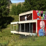 Street art on the slopes of Crans-Montana, Switzerland