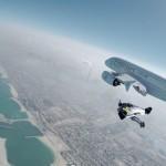 "Swiss ""Jetman"" takes to sky alongside an Airbus 380"