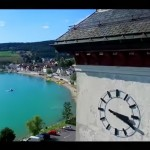 Amazing footage of high altitude Swiss lake in summer and winter
