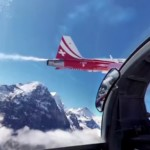 360 degree video of the Swiss Air Force flying in formation over Alps