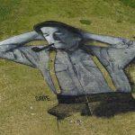 The 10,000 m2 grass fresco by French artist Saype in Leysin, Switzerland