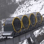 Rotating carriages keep passengers upright on world's steepest funicular
